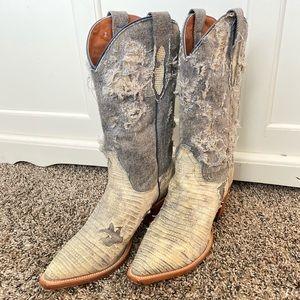 Distressed denim snake skin cowboy boots
